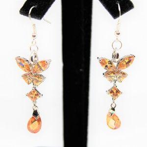 Morganite butterfly dangle earrings